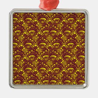 Modelo marrón y amarillo elegante del damasco del adorno navideño cuadrado de metal