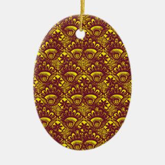 Modelo marrón y amarillo elegante del damasco del adorno navideño ovalado de cerámica