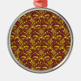 Modelo marrón y amarillo elegante del damasco del adorno navideño redondo de metal