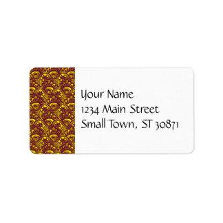 Modelo marrón y amarillo elegante del damasco del  etiqueta de dirección