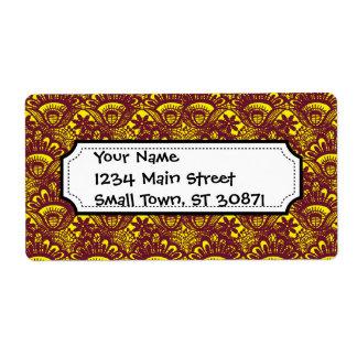 Modelo marrón y amarillo elegante del damasco del  etiqueta de envío
