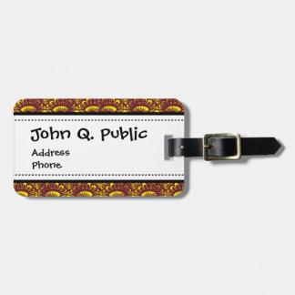 Modelo marrón y amarillo elegante del damasco del  etiqueta para maleta