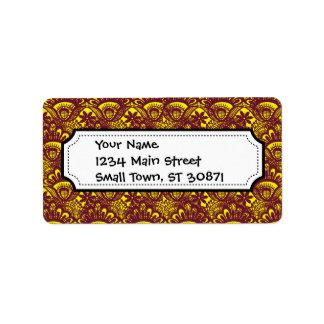 Modelo marrón y amarillo elegante del damasco del  etiquetas de dirección