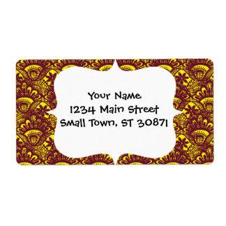 Modelo marrón y amarillo elegante del damasco del  etiquetas de envío