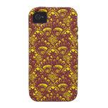 Modelo marrón y amarillo elegante del damasco del  vibe iPhone 4 fundas