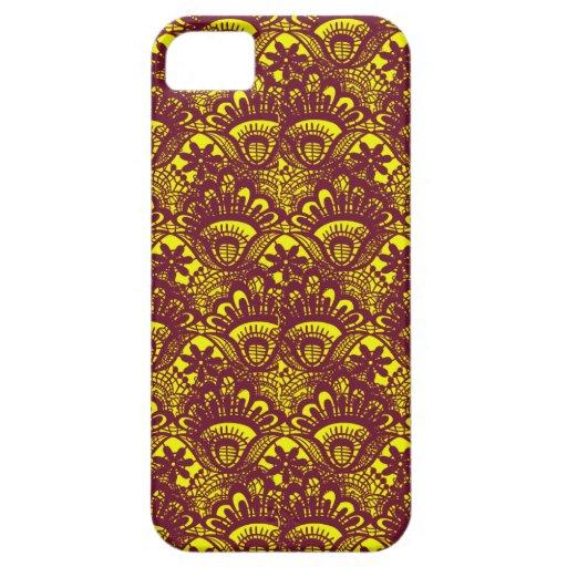 Modelo marrón y amarillo elegante del damasco del  iPhone 5 protectores