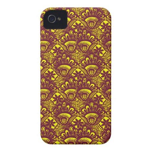 Modelo marrón y amarillo elegante del damasco del  iPhone 4 Case-Mate carcasas