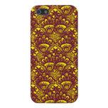 Modelo marrón y amarillo elegante del damasco del  iPhone 5 fundas