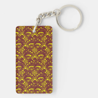 Modelo marrón y amarillo elegante del damasco del llavero rectangular acrílico a doble cara