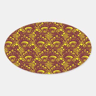Modelo marrón y amarillo elegante del damasco del colcomanias de óval