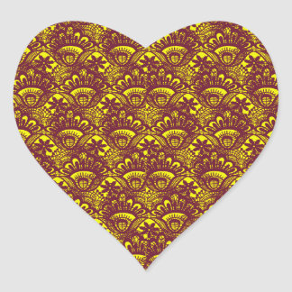 Modelo marrón y amarillo elegante del damasco del pegatina en forma de corazón