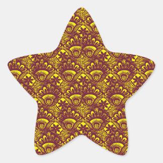 Modelo marrón y amarillo elegante del damasco del pegatina en forma de estrella