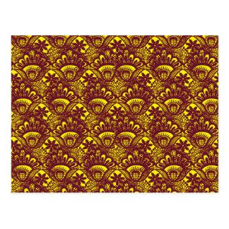 Modelo marrón y amarillo elegante del damasco del postal