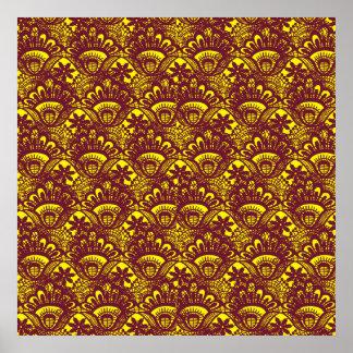 Modelo marrón y amarillo elegante del damasco del  póster