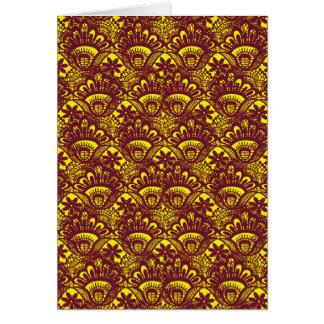 Modelo marrón y amarillo elegante del damasco del tarjeta de felicitación