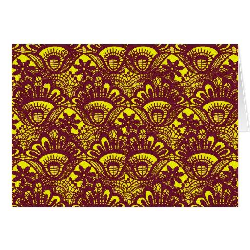 Modelo marrón y amarillo elegante del damasco del tarjeta pequeña