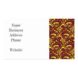 Modelo marrón y amarillo elegante del damasco del tarjetas de visita