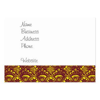 Modelo marrón y amarillo elegante del damasco del tarjetas de visita grandes