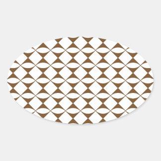 Modelo marrón y blanco pinta 11A Pegatina Ovalada