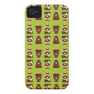 Modelo marrón y verde retro de los monstruos del carcasa para iPhone 4