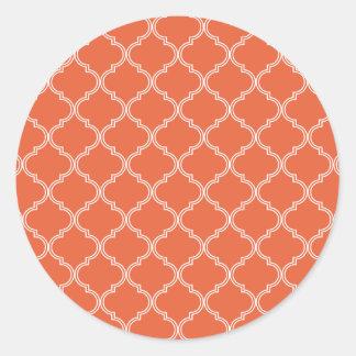 Modelo marroquí anaranjado pegatina redonda