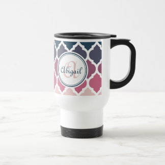 Modelo marroquí azul rosado con monograma del enre taza de café