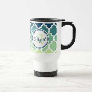 Modelo marroquí con monograma del enrejado del ver tazas de café