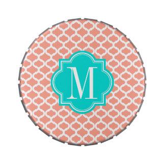 Modelo marroquí coralino con el monograma de la tu frascos de caramelos