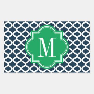 Modelo marroquí de los azules marinos con el rectangular pegatina