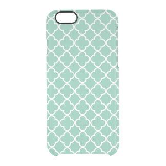 Modelo marroquí de Quatrefoil de la verde menta y Funda Clearly™ Deflector Para iPhone 6 De Uncommon