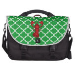 Modelo marroquí del enrejado del verde rojo de la  bolsas para portatil