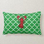 Modelo marroquí del enrejado del verde rojo de la  almohadas