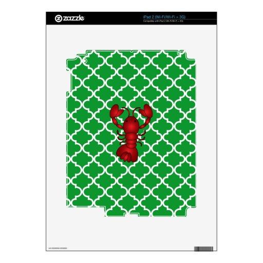 Modelo marroquí del enrejado del verde rojo de la  calcomanía para iPad 2