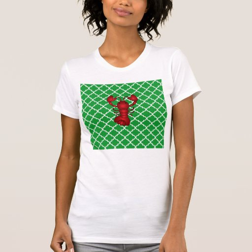 Modelo marroquí del enrejado del verde rojo de la remera