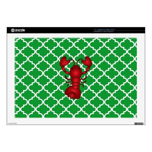 Modelo marroquí del enrejado del verde rojo de la  portátil skins