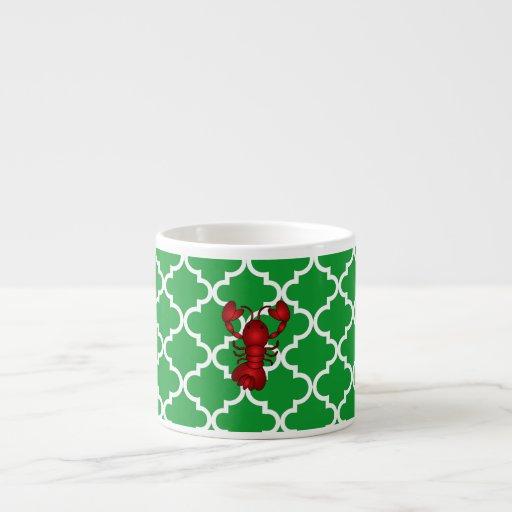 Modelo marroquí del enrejado del verde rojo de la taza espresso