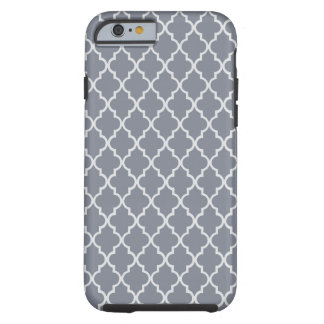 Modelo marroquí gris oscuro y blanco del enrejado funda de iPhone 6 tough