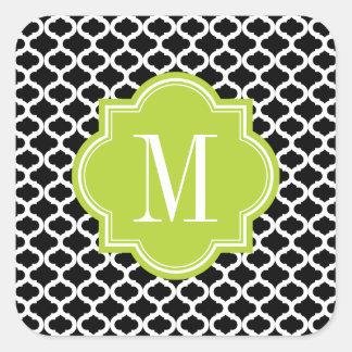 Modelo marroquí negro con el monograma de la verde pegatinas cuadradases personalizadas