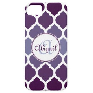 Modelo marroquí púrpura con monograma del enrejado iPhone 5 Case-Mate coberturas