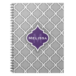 Modelo marroquí púrpura y gris elegante de la teja cuaderno