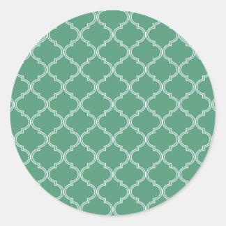 Modelo marroquí verde pegatina redonda