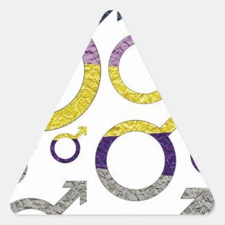 Modelo masculino del símbolo pegatina triangular