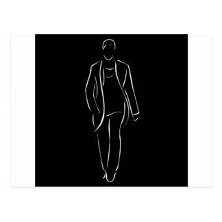 modelo masculino en desfile de moda postales