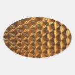 Modelo metálico del oro pegatina óval personalizadas