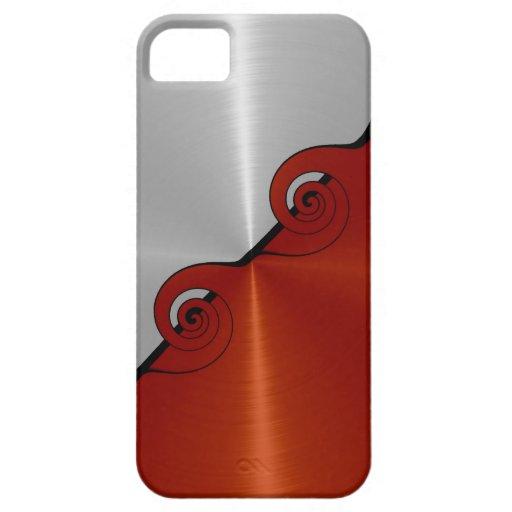Modelo metálico inoxidable anaranjado de plata 4 d iPhone 5 cárcasas