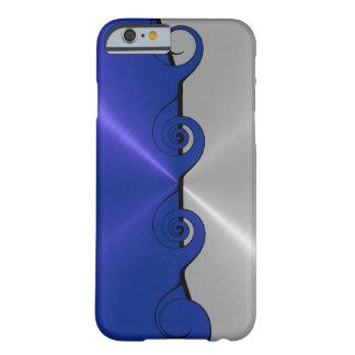 Modelo metálico inoxidable azul de plata 2 del funda de iPhone 6 barely there