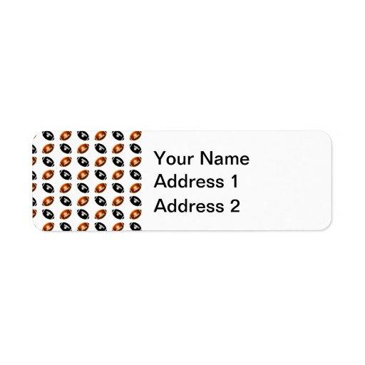 Modelo metálico y negro anaranjado brillante del f etiqueta de remitente