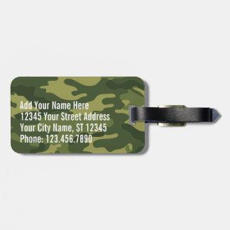 Modelo militar verde de Camo con nombre y direcció Etiqueta Para Maleta