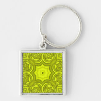 Modelo moderno abstracto amarillo llavero cuadrado plateado