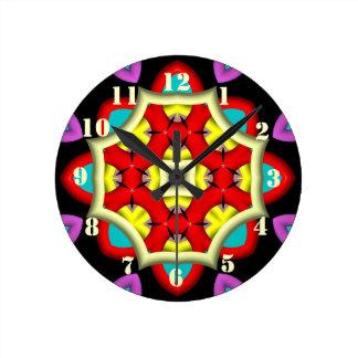 Modelo moderno abstracto colorido reloj redondo mediano